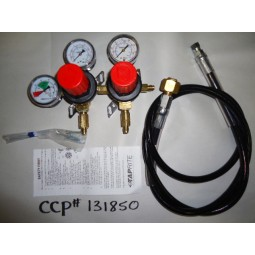"Primary soda reg, 2P2P, 1/4"" MFL inlet w/6' hose (CGA320), 1/4"" MFL outlet, 100 lb, 160 lb, & 2000 lb gauges, wall mt, red cap"