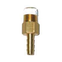 Outlet fitting with check valve 1/4 hose barb