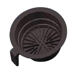 Black plastic brew basket with two smart stickers