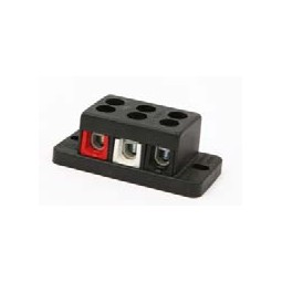Terminal block, 3 pole, red/wht/blk