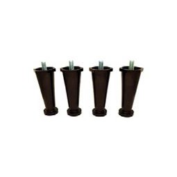 "Black plastic leg: 4 inches adjustable to 5 inches, 3/8""-16 stud, 4 pack"
