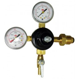 "Primary beer regulator, N₂, 1P1P, CGA580 inlet, 5/16"" barb shut‐off w/check, 60 lb & 3000 lb gauges"