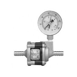 "50 psi water pressure reducer valve with SS body, pressure gauge, 3/8"" SS barb inlet/outlet"