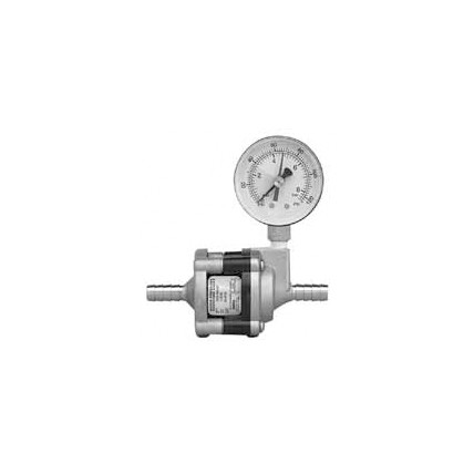 """50 psi water pressure reducer valve with SS body, pressure gauge, 3/8"""" SS barb inlet/outlet"""