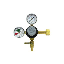 "Primary beer regulator, 1P1P, CGA320 inlet, 5/16"" barb shut‐off w/check, 60 lb and 2000 lb gauges"