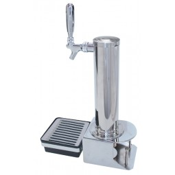 "3"" Cylinder tower 1 faucet polished SS with chrome clamp-on bracket & drip tray (handle sold separately)"