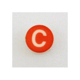 Button cap C white lettering red cap
