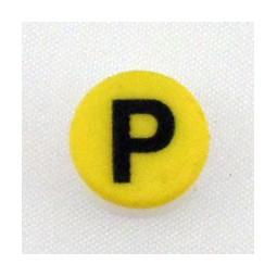 Button cap P black lettering yellow cap