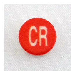 Button cap CR white lettering red cap