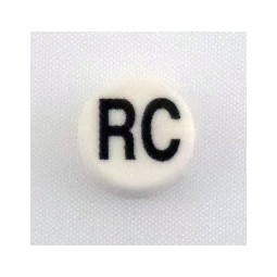 Button cap RC black lettering white cap