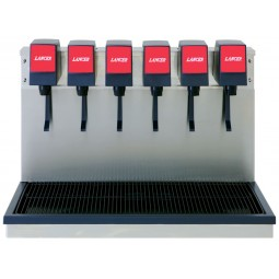 Island base dispensing tower, 6 LEV push button lever