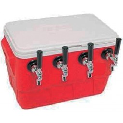 "48 qt picnic cooler with three faucets, 10 x 15"" cold plate, shanks, couplings, NPL fittings"