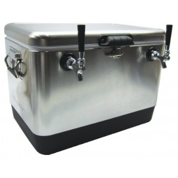 54 qt SS picnic cooler with three 50' SS coils, 3 faucets, NPL fittings