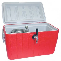48 qt. picnic cooler with single 120' stainless steel coil, 1 faucet, shank, coupling, NPL fittings