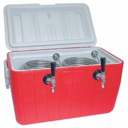 48 qt. picnic cooler with two 120' stainless steel coils, 2 faucets, shanks, couplings, NPL fittings