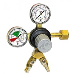 "Primary beer regulator, 1P2P, CGA320 inlet, 5/16""(2) barb shut‐off w/check, 60 lb and 2000 lb gauges"