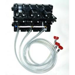 "Flojet 3 pump system CC adapters 3/8"" SS barb straight"