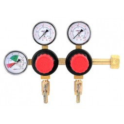 "Primary beer regulator, 2P2P, high performance, CGA320 inlet, 5/16"" barb shut‐offs w/check, 60 lb and 2000 lb gauges"
