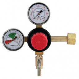 "Primary beer regulator, 1P1P, high performance, CGA320 inlet, 5/16"" barb shut‐off outlet w/check, 60 lb and 2000 lb gauges"