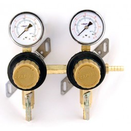 "Secondary beer regulator, 2P2P, 5/16"" barb inlet, 5/16"" barb shut‐offs, 60 lb gauges"