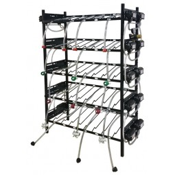 BIB vertical rack assy, 3x5, center pump mount, 16 pumps, connectors, reg set, line labels, top shelf