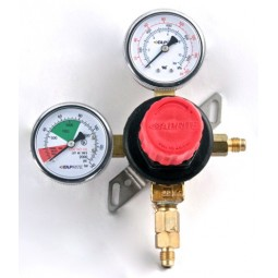 "Primary soda regulator, 1P1P, 1/4"" flare inlet, 1/4"" flare w/check outlet, 160 lb and 2000 lb gauges, wall mount"