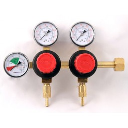 "Primary soda regulator, 2P2P, CGA320 inlet, 1/4"" barb outlets w/check, 160 lb and 2000 lb gauges"