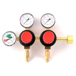 Primary soda regulator, 2P2P, 160 lb and 2000 lb gauges, wall mpunt with 6' and 3' high pressure hoses
