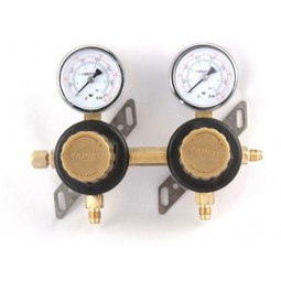 "Secondary soda regulator, 2P2P, 1/4"" flare In/thru, 1/4"" flare outlet w/check, 100 lb gauges"