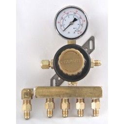 "Secondary soda regulator, 1P5P, 1/4"" flare In/thru, 1/4"" flare outlets on horizontal manifold, 100 lb gauge"