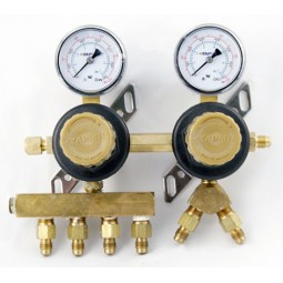 "Secondary soda regulator, 2P6P, 1/4"" flare In/thru, 1/4"" flare outlets on horizontal manifold and Forged 'Y', 100 lb gauges"