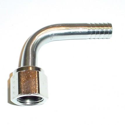 Elbow 1/4 FFL swivel nut x 3/8 barb SS