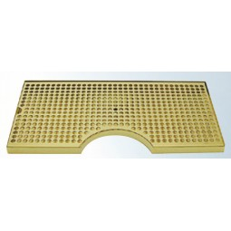 "Surface mount brass drip tray with 6"" cutout and drain 8"" x 3/4"" x 14"""