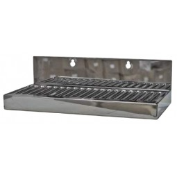 "Stainless steel wall mounted drip tray no drain 10"" x 5"" x 1-1/2""H"