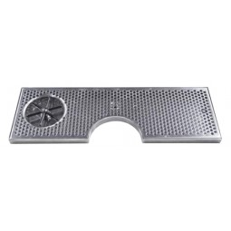 "Surface mount drip tray with cutout, drain and side rinser 8"" x 7/8"" x 24"""