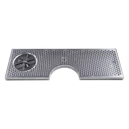 """Surface mount drip tray with cutout, drain and side rinser 8"""" x 7/8"""" x 34"""""""