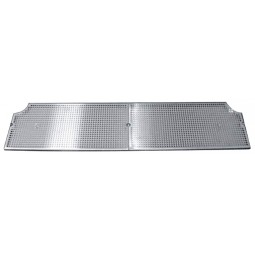 "Surface mount drip tray with cutout corners, drain and side rinser 8"" x 7/8"" x 24"""