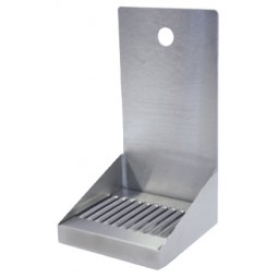 "Stainless steel wall mounted drip tray with drain 1 faucet hole 6"" x 6"" x 11""H"