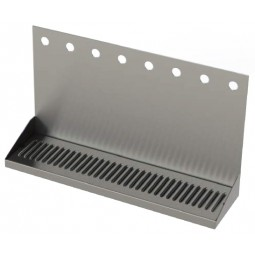 "Stainless steel wall mounted drip tray with drain 8 faucet holes 24""W x 6-3/8""D x 14""H"