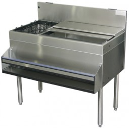 """Underbar SS ice bin 42""""W x 24""""D 10 circuit CP holds 106 lbs ice with 8 bottle well on right"""