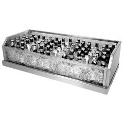 """Glass ice display unit 16D x 54L x 7""""H"""