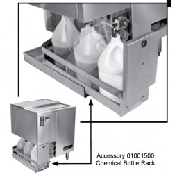 Slide-out chemical bottle rack for GW24 rotary glasswasher
