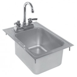 "Drop-in sink no faucet 12""L x 17""D"