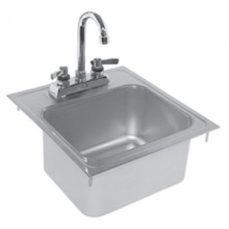 "Drop-in sink with faucet 14""L x 15""D"