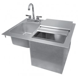 Drop-in sink with faucet and ice unit, no drainboard