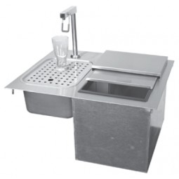Drop-in ice and water station unit, no drainboard
