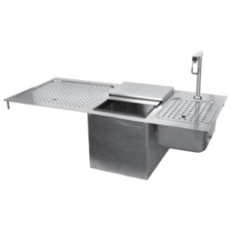 Drop-in ice and water station unit with drainboard