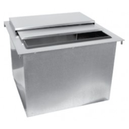 "Drop-in ice bin 50 lb capacity 20""L x 19""D"