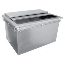 "Drop-in ice bin 71 lb capacity 26""L x 19""D"