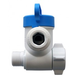 Angle stop adapter valve 3/8 male thread compression x 3/8 female thread compression x 1/4 tube OD